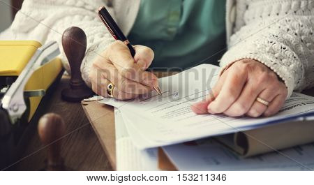 Stamp Signing Authorization Contract Documents Concept