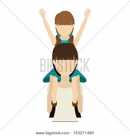 avatar woman mother carrying her daughter on her shoulders over white background. vector illustration