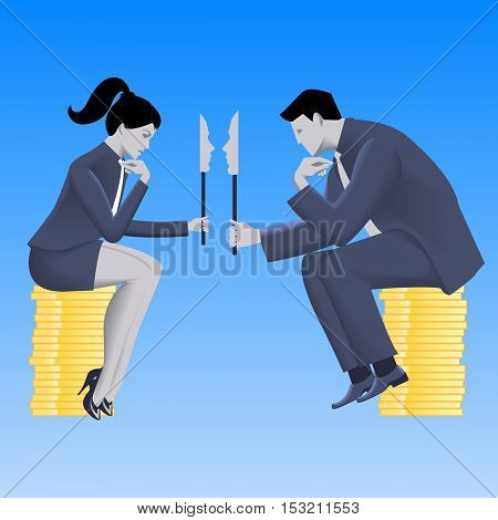 Negotiations of masks business concept. Confident businessman in business suit talks with business lady and both are holding masks covering their true intentions. Talk conversation deception vector.