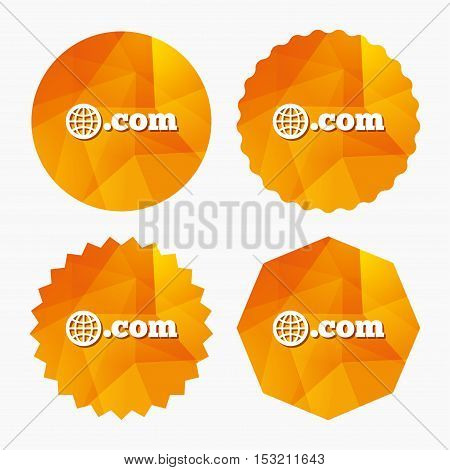 Domain COM sign icon. Top-level internet domain symbol with globe. Triangular low poly buttons with flat icon. Vector