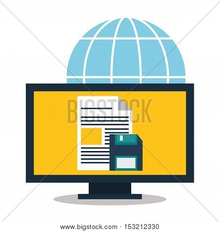 Computer and diskette icon. digital marketing media and seo theme. Colorful design. Vector illustration