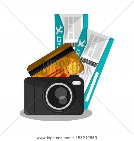 Tickets camera and credit card icon. travel trip vacation and tourism theme. Colorful design. Vector illustration