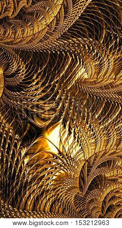 Abstract intricate golden pattern - digitally generated image. Fractal geometry: twisted curls and curves woven into a beautiful network.