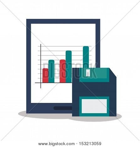Tablet and diskette icon. digital marketing media and seo theme. Colorful design. Vector illustration