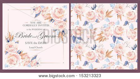 Vector vintage invitation with pink english roses