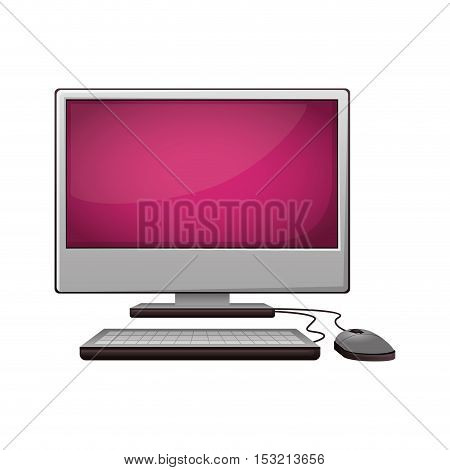 monitor computer with keyboard and mouse devices over white background. vector illustration