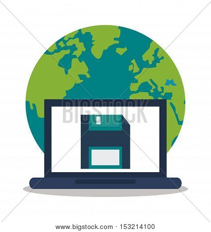Laptop and diskette icon. digital marketing media and seo theme. Colorful design. Vector illustration