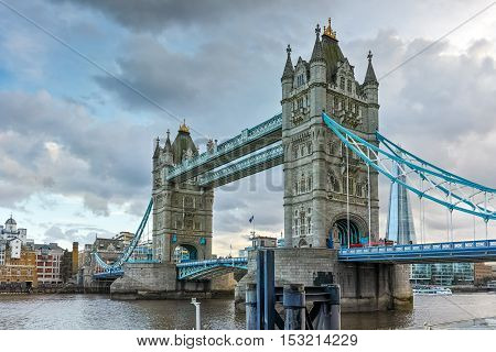 Amazing Sunset view of Tower Bridge in London in the late afternoon, England, United Kingdom