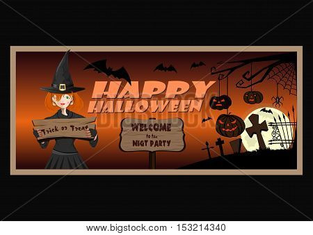 Happy Halloween design. Welcome to the night party. Trick or treat. Young cute witch. Vector illustration