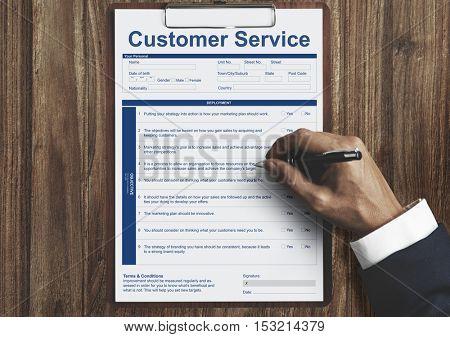 Customer Service Performance Data Application Form Concept