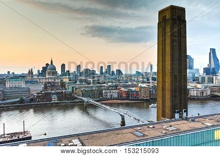 Amazing Sunset skyline of city of London and Thames river, England, Great Britain