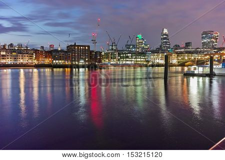 Amazing Night panorama of Thames River, London, England, Great Britain