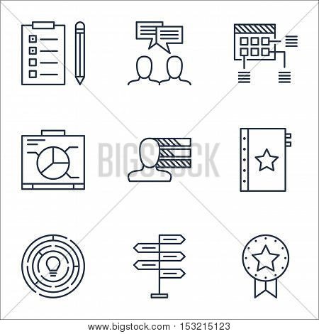 Set Of Project Management Icons On Reminder, Present Badge And Schedule Topics. Editable Vector Illu