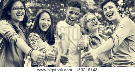 Diverse Group Young People Thumb Up Concept