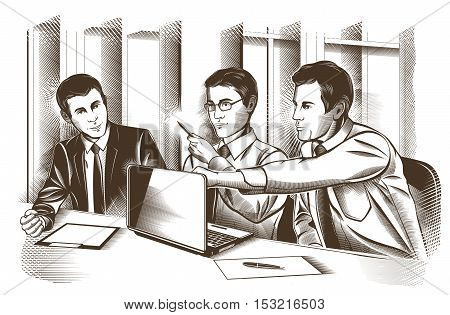 Business partners discussing documents and ideas at meeting illustration.