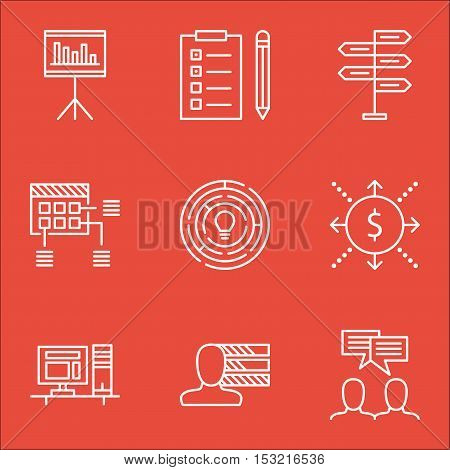 Set Of Project Management Icons On Money, Computer And Schedule Topics. Editable Vector Illustration