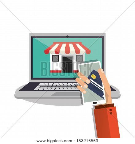 Laptop smartphone credit card and store icon. Shopping online ecommerce media and market theme. Colorful design. Vector illustration