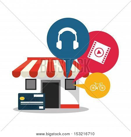 Store credit card and icon set. Shopping online ecommerce media and market theme. Colorful design. Vector illustration