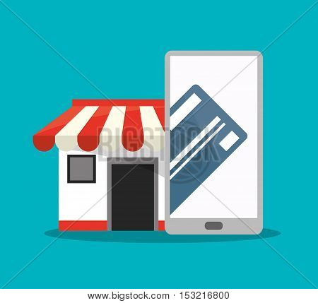 Smartphone store and credit card icon. Shopping online ecommerce media and market theme. Colorful design. Vector illustration