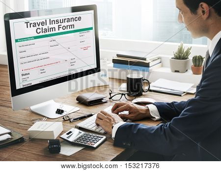 Travel Insurance Claim Form Destination Policy Concept
