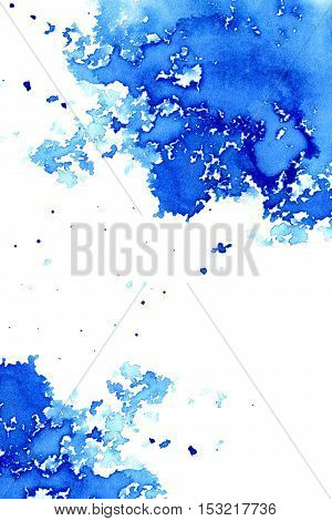 Abstract dark blue watery frame.Aquatic backdrop.Ink drawing.Watercolor hand drawn image.Wet splash.White background.