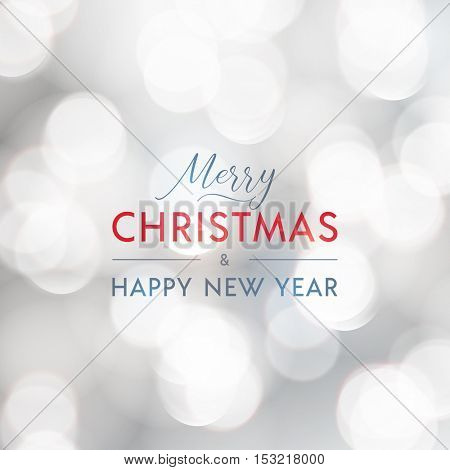 Merry Christmas and Happy New Year greeting card. Typographic vector design, beautiful white bokeh background.