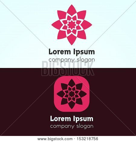 Minimalistic rose flower icon sign vector design