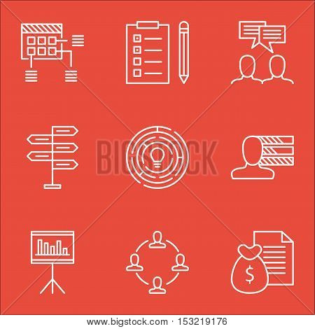 Set Of Project Management Icons On Schedule, Presentation And Collaboration Topics. Editable Vector