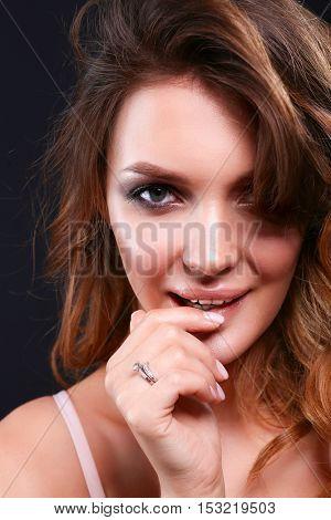 Woman hair style fashion portrait on black background