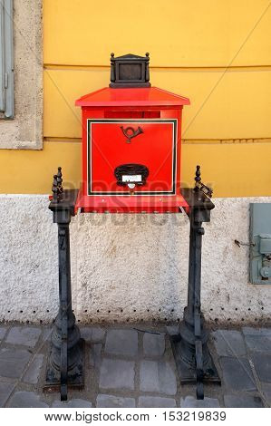BUDAPEST HUNGARY - SEPTEMBER 29 2016: Acting Vintage red mailbox in Budapest