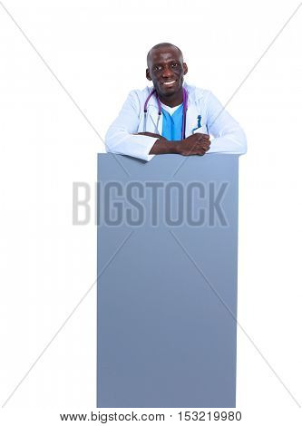 Male doctor holding empty placard.