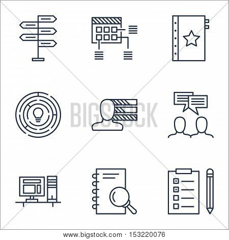 Set Of Project Management Icons On Personal Skills, Discussion And Reminder Topics. Editable Vector