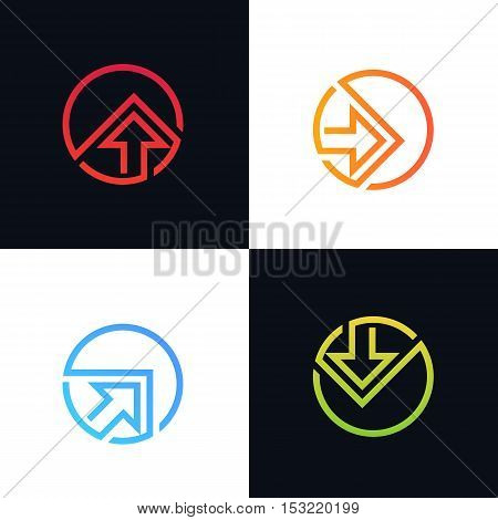 Abstract arrow logo rise sign symbol element icon vector design