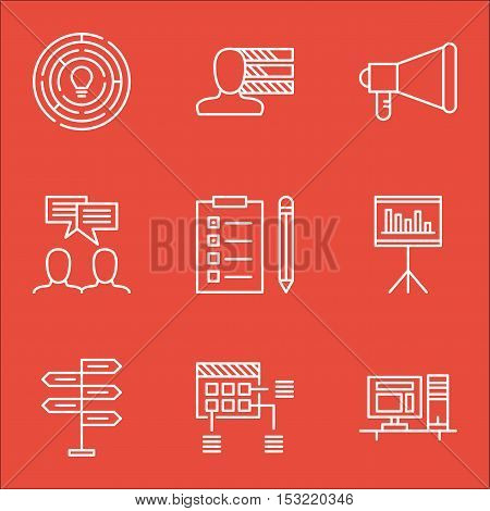 Set Of Project Management Icons On Personal Skills, Discussion And Presentation Topics. Editable Vec