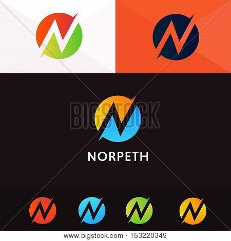 N letter logo company sign vector design
