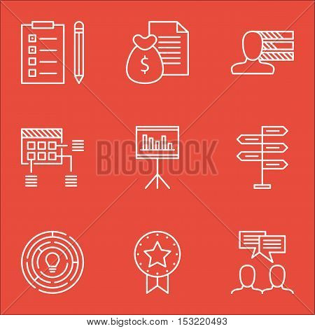 Set Of Project Management Icons On Personal Skills, Report And Schedule Topics. Editable Vector Illu