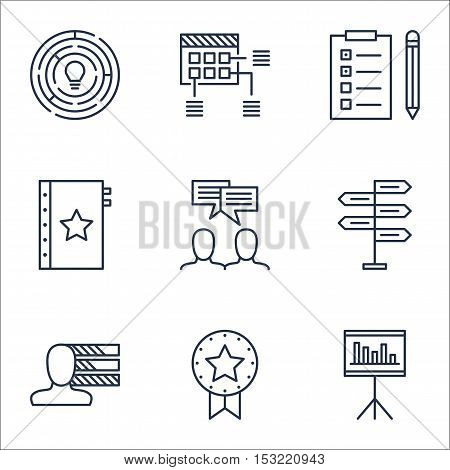 Set Of Project Management Icons On Presentation, Reminder And Present Badge Topics. Editable Vector
