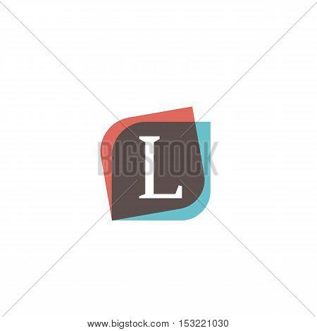 L letter retro sign company symbol vector design