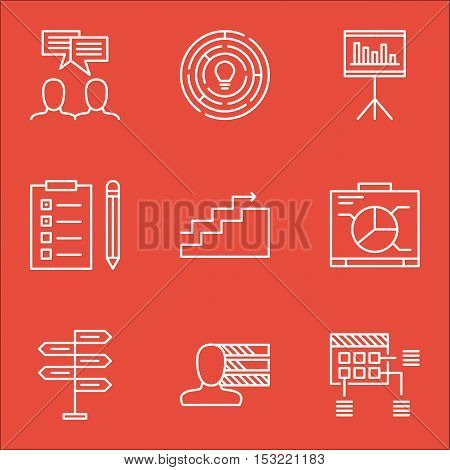 Set Of Project Management Icons On Presentation, Personal Skills And Growth Topics. Editable Vector