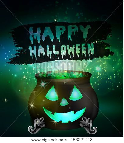 Halloween witches cauldron with green potion and spiders on dark background with face, illustration.