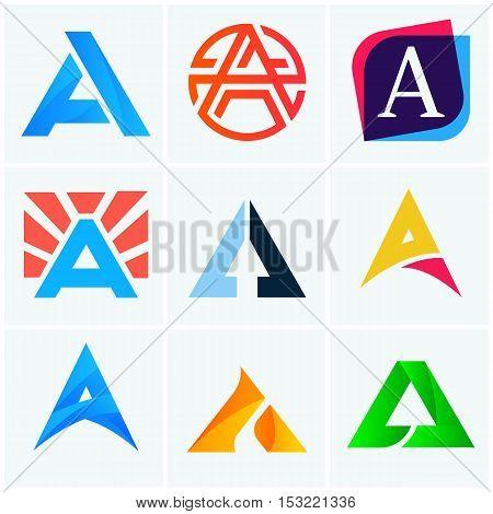 A letter logo company signs set vector design