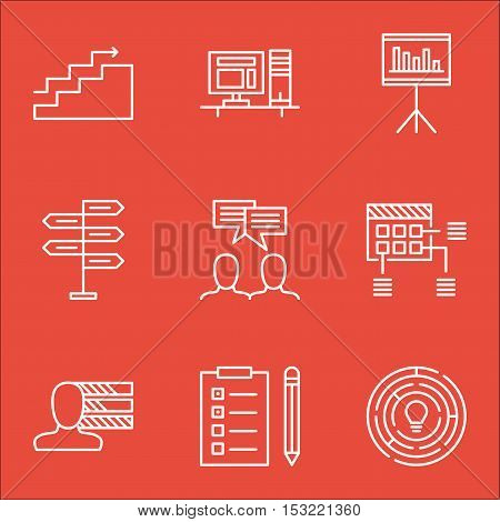 Set Of Project Management Icons On Innovation, Presentation And Opportunity Topics. Editable Vector