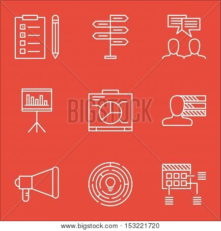 Set Of Project Management Icons On Reminder, Board And Innovation Topics. Editable Vector Illustrati