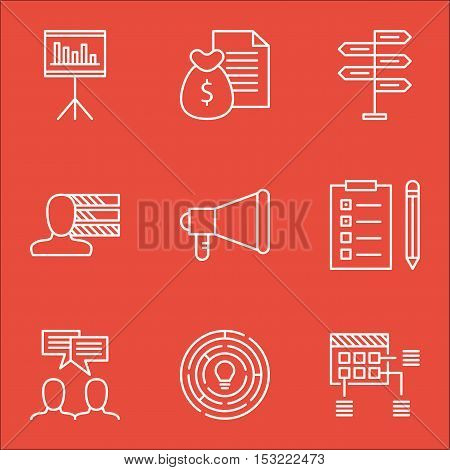 Set Of Project Management Icons On Personal Skills, Presentation And Innovation Topics. Editable Vec