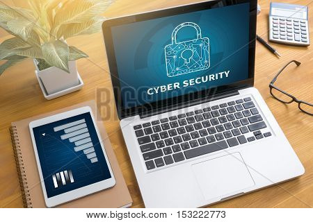 Cyber Security Business, Technology, Internet And Networking Concept. Young Businessman Working On H