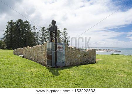 Port Elliot SA Australia - October 11 2016: Site of the first harbourmaster's cottage at Port Elliot Horseshoe Bay South Australia. Part of the Fleurieu Peninsula.