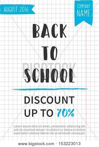 Back to school Discount up to 70 percent vector banner.