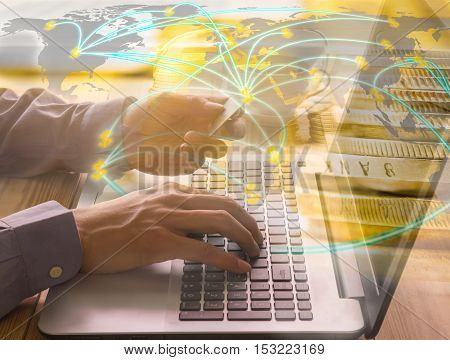 A business man uses laptop for working his business project. You can apply for business background, business backdrop, business wallpaper, business with text and everything about business background concept.