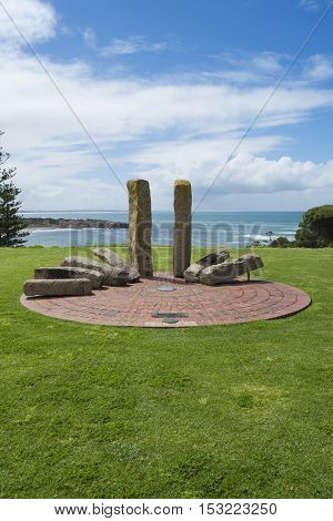 Port Elliot SA Australia - October 11 2016: Memorial to mark the site of the first harbourmaster's cottage at Port Elliot Horseshoe Bay South Australia. Part of the Fleurieu Peninsula.