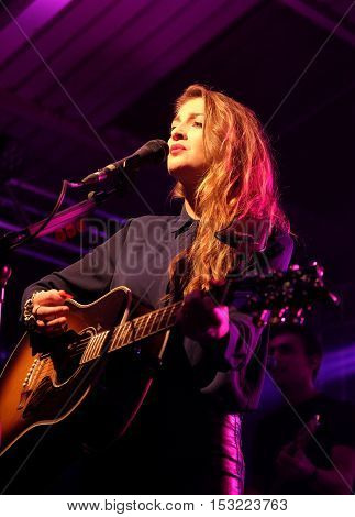 The Engine Rooms Southampton - October 21 2016: Catherine Ward Thomas with British country duo Ward Thomas performing at the Engine Rooms